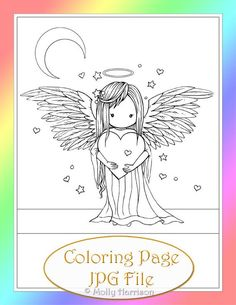 Angel Coloring Pages by Molly Harrison Fantasy Art Angel Coloring Pages, Free Coloring Pages, Printable Coloring Pages, Coloring Sheets, Coloring Books, Mermaid Art, Fairy Art, Digi Stamps, Embroidery Patterns