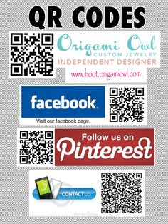 Updated QR Codes for our Origami Owl Business!