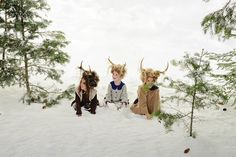 www.frostedproductions.com l #utah #photographer #editorial #photography #beautiful #little #girls #playing #in #the #snow #antlers #amazing #hair #ideas #winter #pine #trees #studio