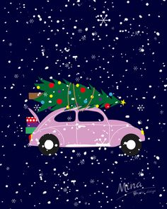 #adventninedele #druhaadventninedele #christmas #vanoce #16days #16daystochristmas #car #pinkcar #snow #letitsnow #christmascar #christmastree #christmasgifts #illustration #illustrator #mina #minagraphicdesign #zivotgrafika #pink #wallpaper #graphic_art #advent #christmastime