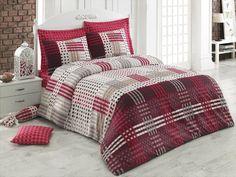 Lenjerie de pat Ranforce Cemaron V3 Red #homedecor #bedroom #decor #bedroomdecor Quilt Cover Sets, Beige, Grey, Duvet Covers, Comforters, King, Quilts, Blanket, Modern