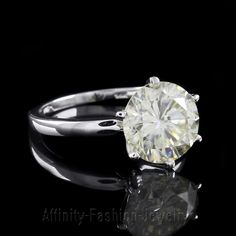 2 CT BRILLIANT ROUND SOLITAIRE MOISSANITE DIAMOND ENGAGEMENT RING 14K WHITE GOLD #AffinityFashionJewelry #Solitaire
