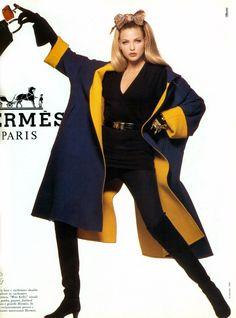Timeless Fashion Nadja Auermann for Hermes Fall, 1992 90s Fashion, Retro Fashion, Fashion Brands, Vintage Fashion, Nadja Auermann, Timeless Fashion, Editorial Fashion, Supermodels, Vintage Outfits