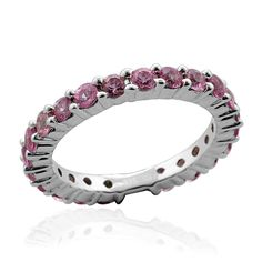 Liquidation Channel | Pink Sapphire Eternity Ring in Platinum Overlay Sterling Silver (Nickel Free)
