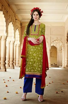 Green Cotton Silk Suit with Resham Embroidery Work Salwar Suits Party Wear, Churidar Suits, Party Wear Dresses, Silk Suit, Cotton Suit, Silk Pants, Salwar Kameez Online Shopping, Indian Sarees Online, Pakistani Suits