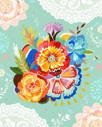 vintage style mexican flower painting