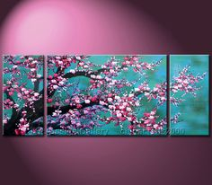 asian cherry blossom painting | ... Shui Cherry Blossom Original Modern Abstract Art Canvas Oil Paintings