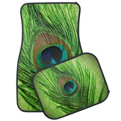 Peacock Lime Green Car Floor Mat.  Have fun with the green peacock bird feather floor mats.