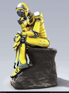 Robot - Thinking Man by Mrorpheus, future, sci-fi, digital art, futuristic… Rodin The Thinker, Zbrush Models, 3d Human, Robots Characters, Retro Robot, Robot Concept Art, Robot Art, Robot Design, Character Design Inspiration