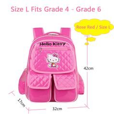 2015 Cute Hello Kitty Backpack Children School Bags For Girls Kids Backpack Mochila Escolar Cartoon Character Bag Grade 1 to 6