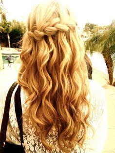 Wedding hair possibility:  Waterfall braid with waves