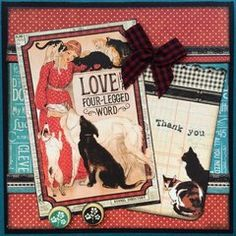 Love Graphic 45? Click for more inspiration. Raining Cats And Dogs, Dog Cards, Project 4, Graphic 45, Vibrant Colors, Texture, Pets, Create, Scrapbooking