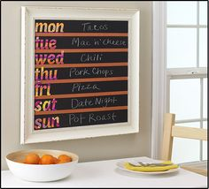 Menu Board to display yummy meals for the family Getting Organized At Home, Meal Planner, Weekly Planner, Home Management Binder, Scotch Tape, Office Supply Organization, Decorative Tape, Kitchen Upgrades, Repurposed Furniture