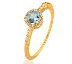 CARASHOP Solitaire Topaze bleue, diamants et or jaune 18 carats prix promo Bague Carrefour Online 339.00 € TTC au lieu de 435 €