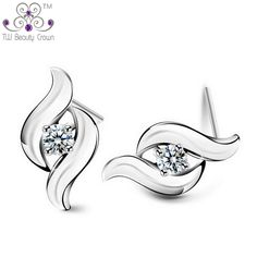 d8f4185bf Authentic 925 Pure Silver Elegant AAA+ White Crystal Cubic Zirconia Stud  Earrings For Women Wedding&Engagement Party Jewelry-in Stud Earrings from  Jewelry ...