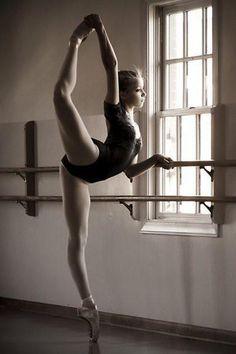 Dancer, window, ballerina, ballet, sun beams, sparkle, stretch, beautiful, female, girl, woman, photo b/w.