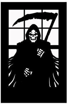Image detail for -Halloween Horror Scary Window Silhouette Grim Reaper Death Decoration ...