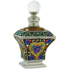 Dazzlers Antique Gold Square Perfume Bottle Set With Swarovski Crystals Vintage Art Figurine