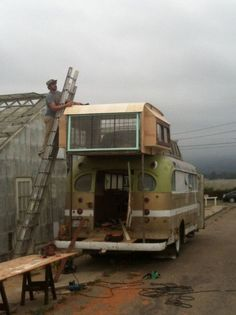 Cosmic Collider Vintage Bus Remodel - Building the 2nd Story