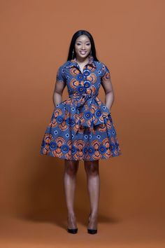 Shop Grass-fields African Print Fashion - African Print Murielle Midi Dress to look effortlessly cool. It's bold and beautiful, perfect for any social occasion! Short African Dresses, Ankara Short Gown Styles, Kente Styles, Latest African Fashion Dresses, African Fashion Ankara, African Print Dresses, African Print Fashion, Africa Fashion, African Prints