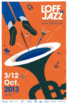 Creation of the identity of the edition of L'OFF JAZZ festival in Montreal. Event Poster Design, Poster Design Inspiration, Graphic Design Posters, Event Posters, Poster Designs, Daily Inspiration, Movie Posters, Festival Jazz, Festival Posters
