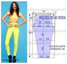 Risultati immagini per moldesedicasmoda Sewing Patterns Free, Clothing Patterns, Dress Patterns, Sewing Pants, Sewing Clothes, Fashion Sewing, Diy Fashion, Fashion Tips, Pola Rok