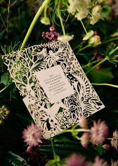 laser cut wedding invitation - perfect for a vintage styled wedding