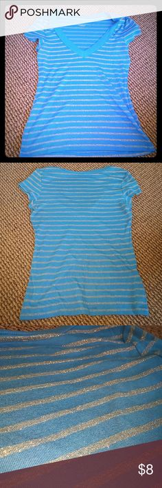 Express Sexy Basics V-Neck Tee Size L Excellent condition.  Blue and silver horizontal lined cotton tee with deep ribbed v-neck.  Size L with plenty of stretch. Express Tops Tees - Short Sleeve