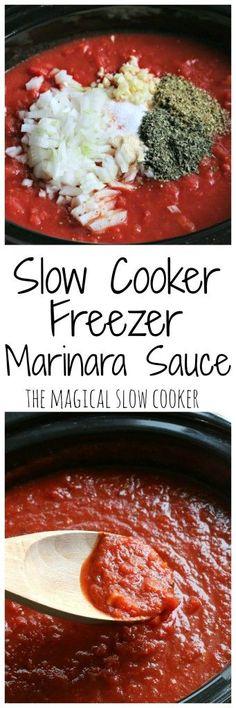 Make one big pot of this homemade sauce, and… Slow Cooker Freezer Marinara Sauce. Make one big pot of this homemade sauce, and freeze for meals all month! Crock Pot Slow Cooker, Slow Cooker Recipes, Crockpot Recipes, Cooking Recipes, Healthy Recipes, Freezer Cooking, Crock Pot Cooking, Vegan Freezer Meals, Italian Dishes