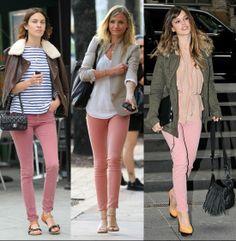 Pantalon pitillo rosa palo, un must-have