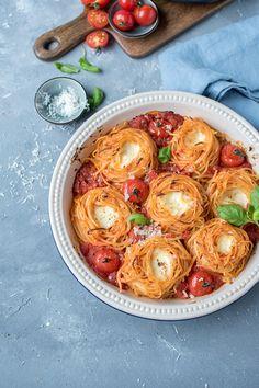 Spaghetti-Nester Tomate-Mozzarella ⋆ Knusperstübchen