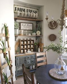 Jaci Hodge (@shabbydesertnest); I like the coffee mugs in a cubby and the plates in the rack. Cute decoration. LT