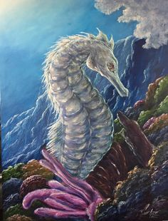 Original 18x24 Seahorse Acrylic Painting On Stretched Canvas