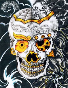 2011, A4 pigma micron, pentel brush, touch markers and pencil Japanese/bio tattoo styled skull, collaboration work with ~mockrabbit from Canada. Left side by me, right side by ~mockrabbit. GALLERY ...