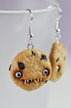 Earrings  Creepy Chocolate Chip Cookies by DaisDeliciousDesign