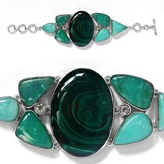 Last One- Artisan Crafted Sterling Silver Crysophase,Malachite,Brazilian Green Amethyst Bracelet 216.00 Ct.