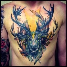 #tattoo #tattoos #chest #chestpiece #deer #inked #ink #colorful #awesome #animal #wildlife