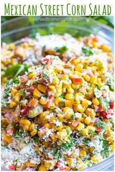 This Mexican Street Corn Salad turns the classic Mexican street food into a delicious and easy to make side dish! This Mexican Street Corn Salad turns the classic Mexican street food into a delicious and easy to make side dish! Shrimp Salad Recipes, Easy Salads, Healthy Salad Recipes, Easy Mexican Food Recipes, Corn Salad Recipe Easy, Corn Recipe, Mexican Street Corn Salad, Mexican Street Food, Corn Salads
