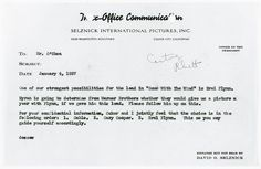 'Gone With The Wind' producer David O. Selznick's Jan. 4, 1937 memo to Daniel O'Shea, noting that Clark Gable, Gary Cooper and Errol Flynn are top choices for role of Rhett Butler.