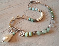 Pearl Boho crochet necklace ' Bohemian Belle' dimpled pearl rustic Thai silver…