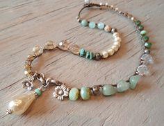 Boho perla collar de ganchillo 'Belle bohemio' con hoyuelos