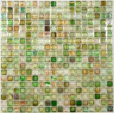 "Botanical Glass  Squares, 5/8"" x 5/8"", Green, Glossy & Iridescent, Green, Glass"