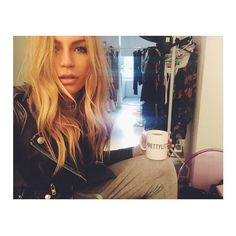 Check the gorgeous Emma Louise Connolly #BehindTheScenes at #PrettyLittleThing HQ! Even looks babein' while sipping a brew! #BTS #Model #Shoot #Fashion #Style