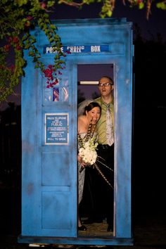 Doctor Who TARDIS wedding grand entrance.  Good idea, but better if it were the 11th Doctor's TARDIS and: lights dim in room, the TARDIS sound grows louder, the light flashes, and it looks like it materializes, then the bride and groom step out of the TARDIS.