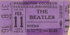 Ticket stub for the Beatles' concert at the Washington Coliseum on February 11, 1964, 8:00 pm, $3.00.Three Dollars?! Can you imagine how much a ticket to a Beatles' concert would cost today?! ~RJT