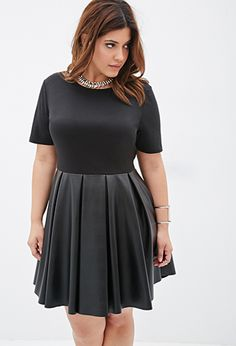 Faux Leather Combo Dress - size 2X | FOREVER21 PLUS - 2000117901
