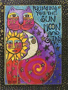 Laurel Burch Card Friendship Cat Sun Moon and St ars - Laurel Burch, Sun Moon Stars, Sun And Stars, Crazy Cats, I Love Cats, Matou, Sun Art, Folk Art, Art Projects