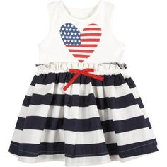 G-Cutee Toddler Girls' Stars and Stripes Pleated Flare Dress, Toddler Girl's, Size: 25 Months, Blue