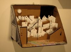 """Habitat. 8 x12 x8"""", 2014. My first use of corrugated in an art object: Exhibited at Off The Wall Gallery, 2014"""
