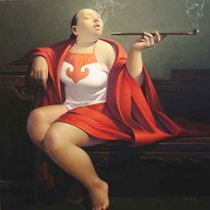 Oil Painting Art Chinese Smoking Woman : http://www.chilture.com/oil-painting-art-chinese-smoking-woman-p-463.html